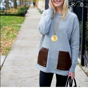 J. Crew Grey Wool Sweater with Leather Pockets